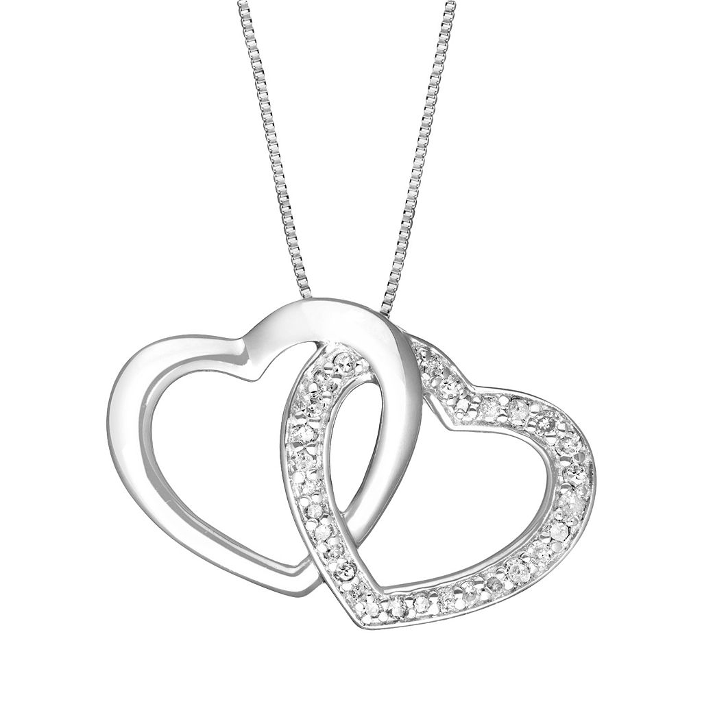 Two Hearts Forever One Sterling Silver 1/4-ct. T.W. Diamond Heart Pendant