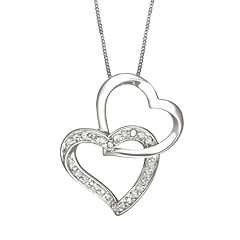 Two Hearts Forever One Sterling Silver 1/4 ctT.W. Round-Cut Diamond Interlocking Heart Pendant