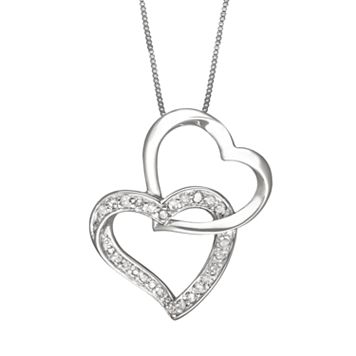 Two Hearts Forever One Sterling Silver 1/4-ct. T.W. Round-Cut Diamond Interlocking Heart Pendant