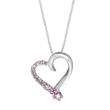 DiamonLuxe Sterling Silver .32-ct. T.W. Pink Simulated Diamond Journey Heart Pendant