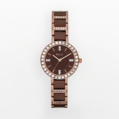 Relic Kerri Stainless Steel Rose Gold Tone and Brown Ion Crystal Watch - ZR34145 - Women