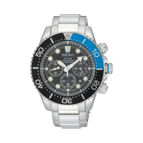 Seiko Solar Stainless Steel Diver's Chronograph Watch - SSC017 - Men