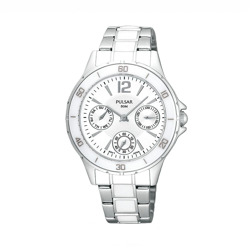 Pulsar Stainless Steel White Ceramic Watch - PP6021 - Women
