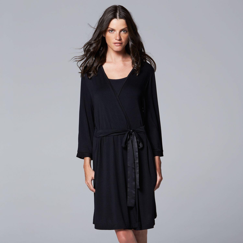 Womens Simply Vera Vera Wang Basic Luxury Wrap Robe