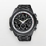 Citizen Eco-Drive Stainless Steel Black Ion Perpetual Calendar Chronograph Flight Computer Watch - BL5405-59E - Men