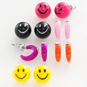 SO Simulated Crystal Hoop and Smiley Face Ball Stud Earring Set