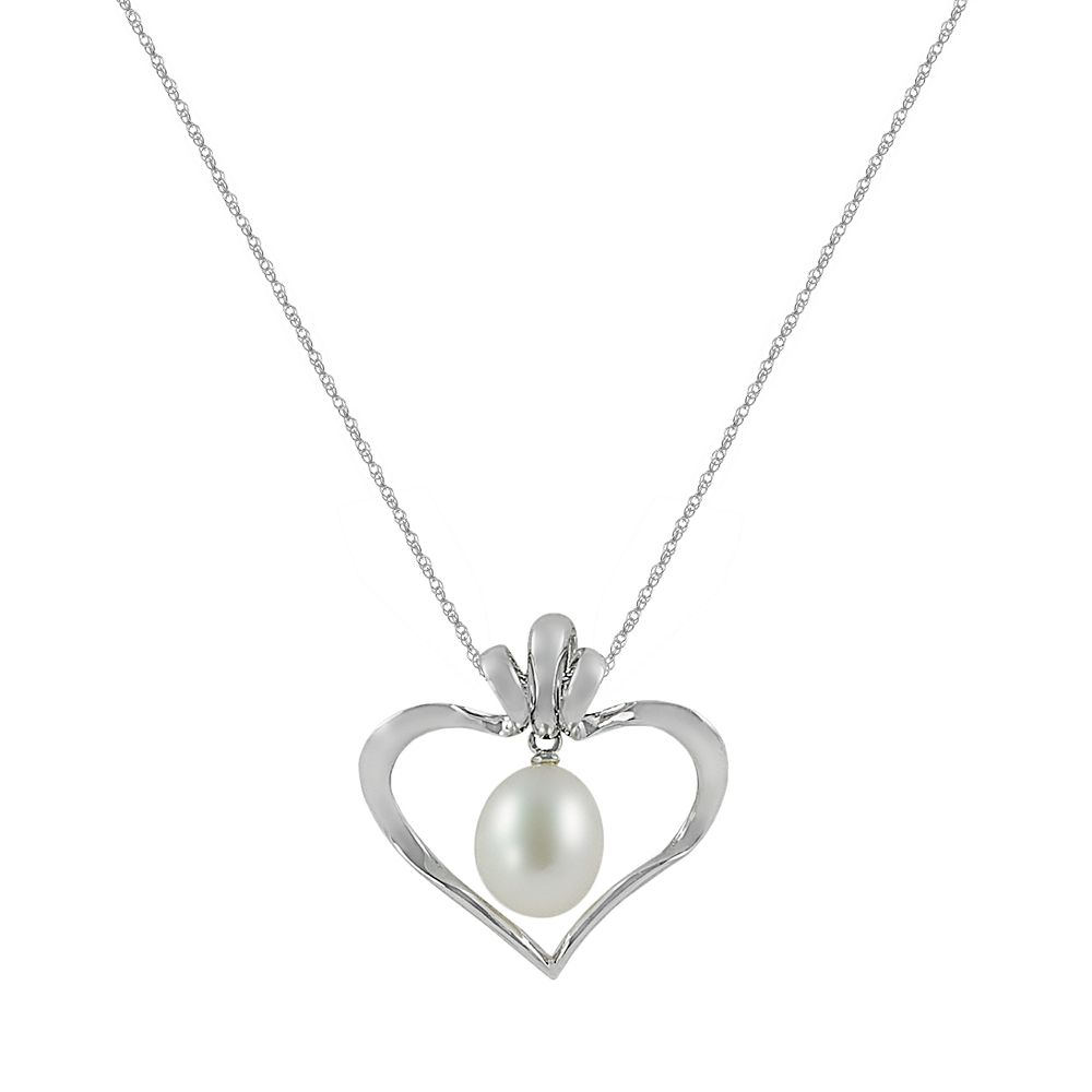 Sterling Silver Freshwater Cultured Pearl Interchangeable Heart Pendant