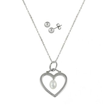 Sterling Silver Freshwater Cultured Pearl Heart Pendant & Stud Earring Set