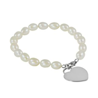Sterling Silver Freshwater Cultured Pearl Heart Charm Bracelet