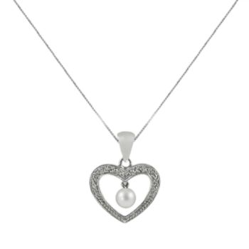 Sterling Silver Freshwater Cultured Pearl and Diamond Accent Heart Pendant