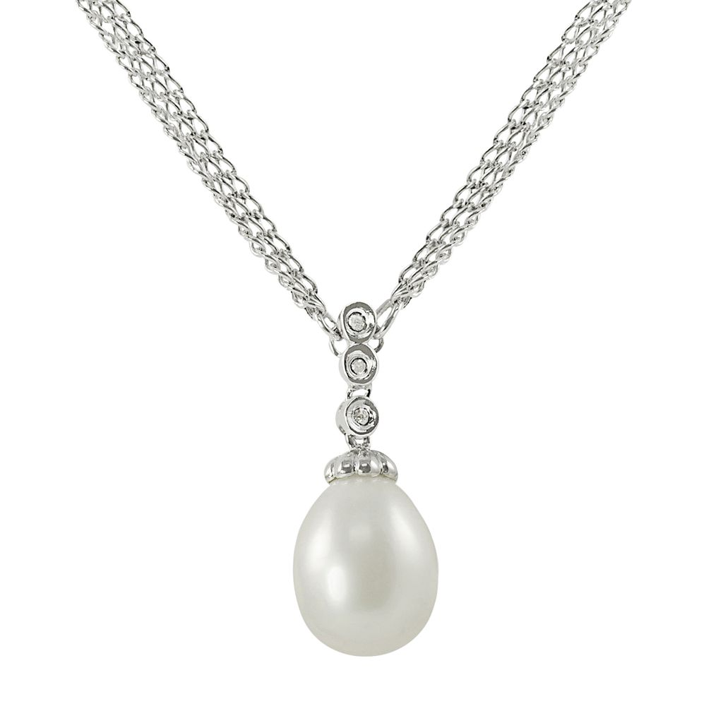 Sterling Silver Freshwater Cultured Pearl & Diamond Accent Pendant