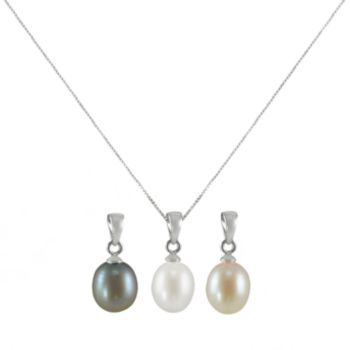Sterling Silver Dyed Freshwater Cultured Pearl Pendant Set