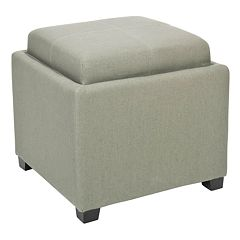 Safavieh Bennett Neutral Square Single Tray Storage Ottoman
