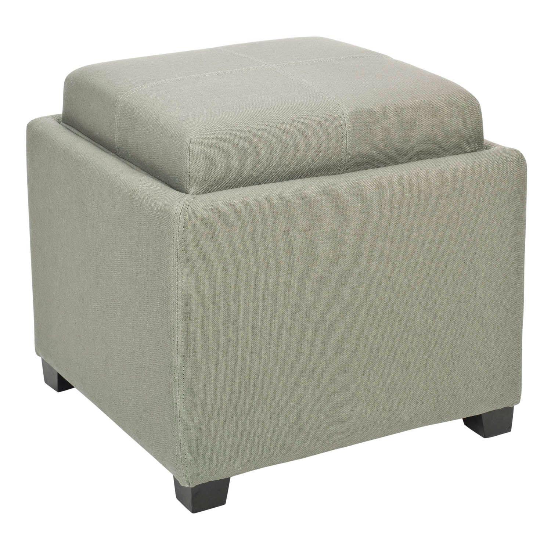 Safavieh Bennett Neutral Square Single Tray Storage Ottoman. Beige Gray  Graphite