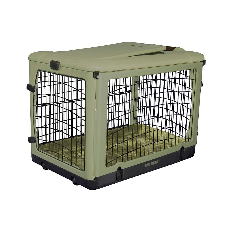 Pet Gear The Other Door Pet Crate and Plush Pad - Small, Green