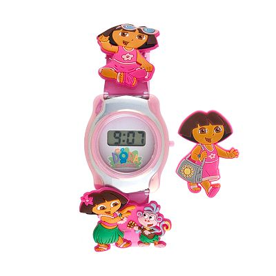 Dora the Explorer Silver Tone Interchangeable Digital Watch Set - Kids