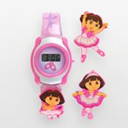 Silver Tone Dora the Explorer Ballerina Digital Watch Set - Kids