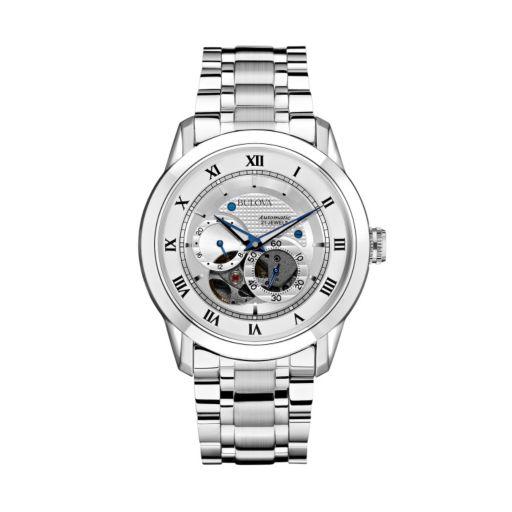 Bulova Men's BVA Stainless Steel Skeleton Watch - 96A118