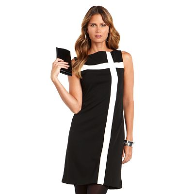 Chaps Striped Ponte Shift Dress