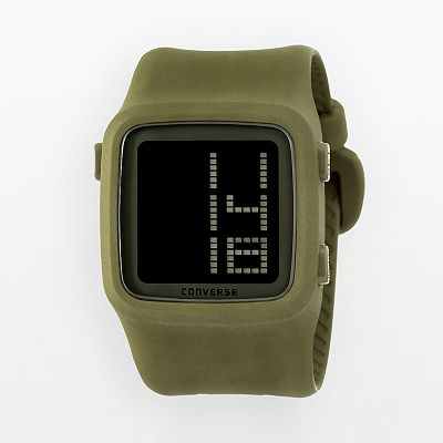 Converse Scoreboard Icon Olive Green Silicone Digital Chronograph Watch - VR002305