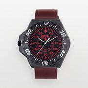 Converse Foxtrot Culture Stainless Steel and Aluminum Black Ion Red Leather Watch - VR008650 - Men