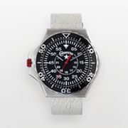 Converse Foxtrot Culture Stainless Steel & Black Aluminum White Leather Watch - VR008150 - Men
