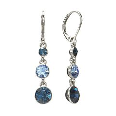Napier Silver Tone Simulated Crystal Linear Drop Earrings
