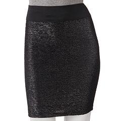 Stooshy Foil Body Con Skirt - Juniors