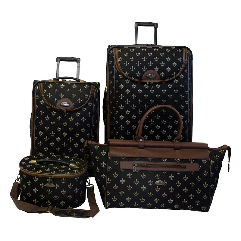 American Flyer Luggage, Fleur-de-Lis 4-pc. Luggage Set, Black