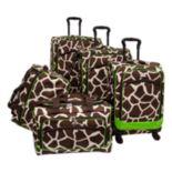American Flyer Giraffe Green 5 pc Luggage Set