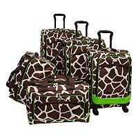 American Flyer Giraffe Green 5 pc Luggage Set