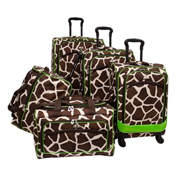 American Flyer Giraffe Green 5-Piece Luggage Set