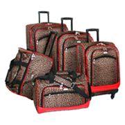 American Flyer 5 pc Leopard Luggage Set