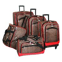 American Flyer 5 pc Leopard Luggage Set