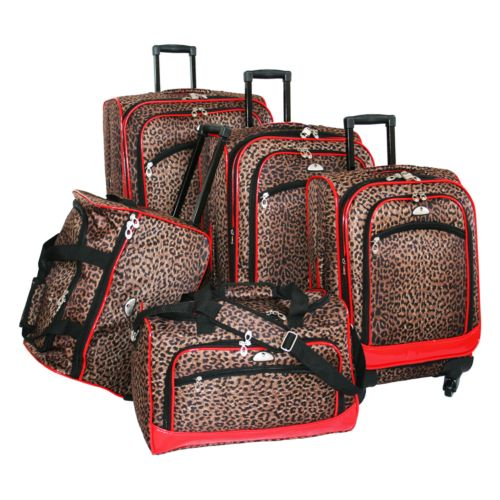 American Flyer Luggage, 5-pc. Leopard Luggage Set