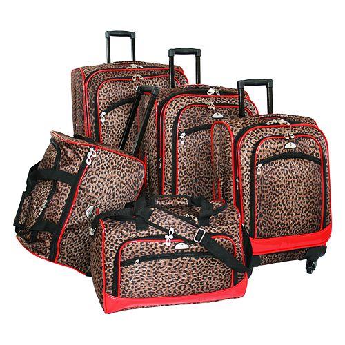 American Flyer 5-Piece Leopard Luggage Set