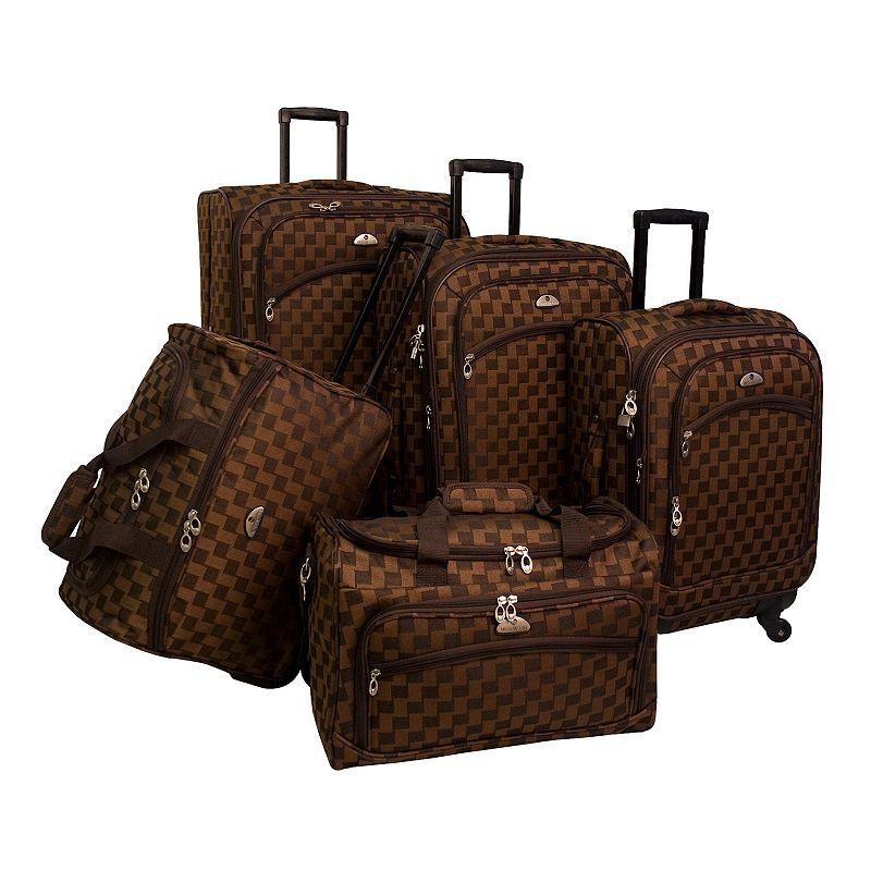 American Flyer Madrid 5-Piece Luggage Set, Brown