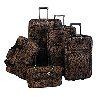 American Flyer 5-Piece Brown Leopard Luggage Set