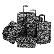 American Flyer 5 pc Zebra Luggage Set