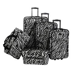American Flyer 5 pc Zebra Luggage Set
