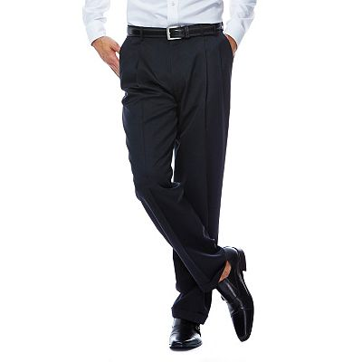 Haggar Classic-Fit Herringbone Pleated Dress Pants