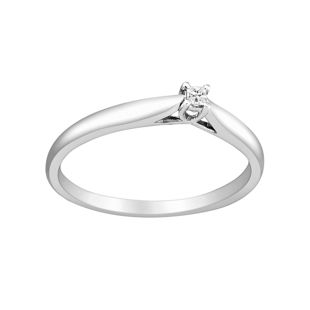 Princess-Cut Diamond Accent Engagement Ring in Sterling Silver