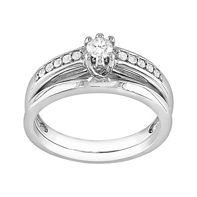 Sterling Silver 1/4-ct. T.W. Round-Cut Diamond Ring Set