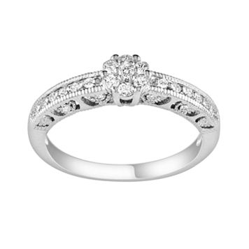 Round-Cut Diamond Cluster Engagement Ring in Sterling Silver (1/5 ct. T.W.)