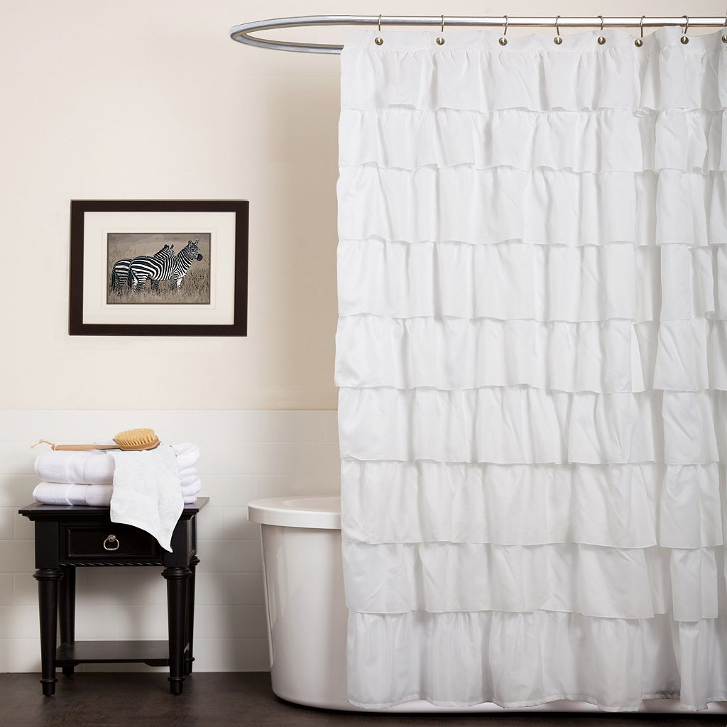 Lush Decor Ruffled Fabric Shower Curtain