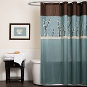 Lush Decor Cocoa Flower Fabric Shower Curtain