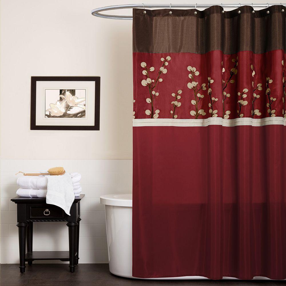 Lush Decor Cocoa Flower Fabric Shower Curtain