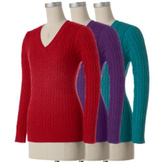 Women's Croft & Barrow® Solid Cable-Knit Sweater