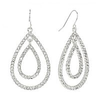 Chaps Silver Tone Simulated Crystal Teardrop Earrings