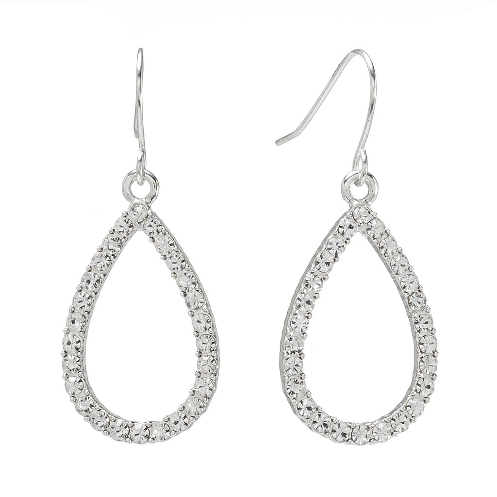 Chaps Silver Tone Simulated Crystal Teardrop Earrings